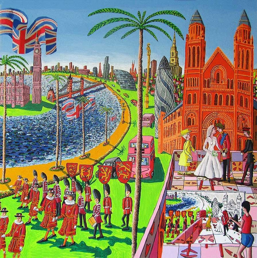 The Painting - Naive Painting Of The Wedding Of Prince William And Kate Middleton by Raphael Perez