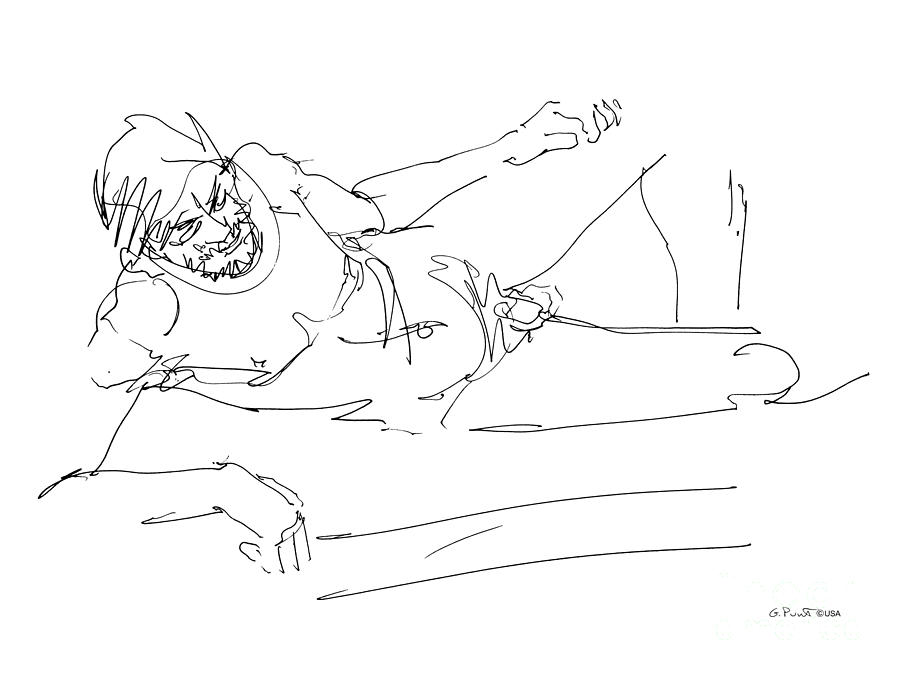 Male Drawing - Naked-man-art-16 by Gordon Punt