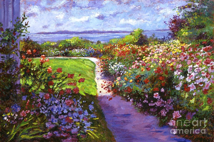 Gardens Painting   Nantucket Island Garden By David Lloyd Glover