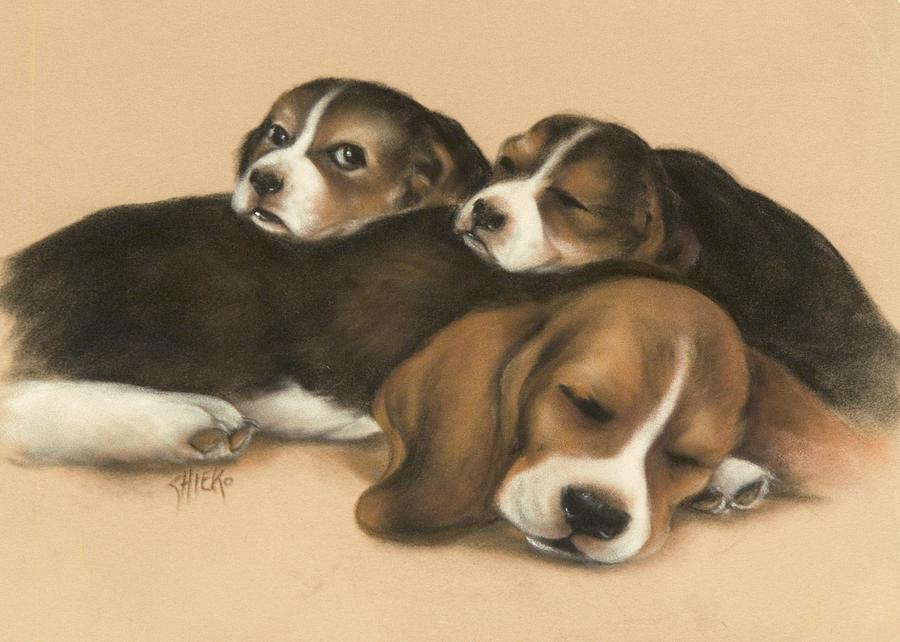 Dogs Pastel - Nap Time by Chieko Amadon