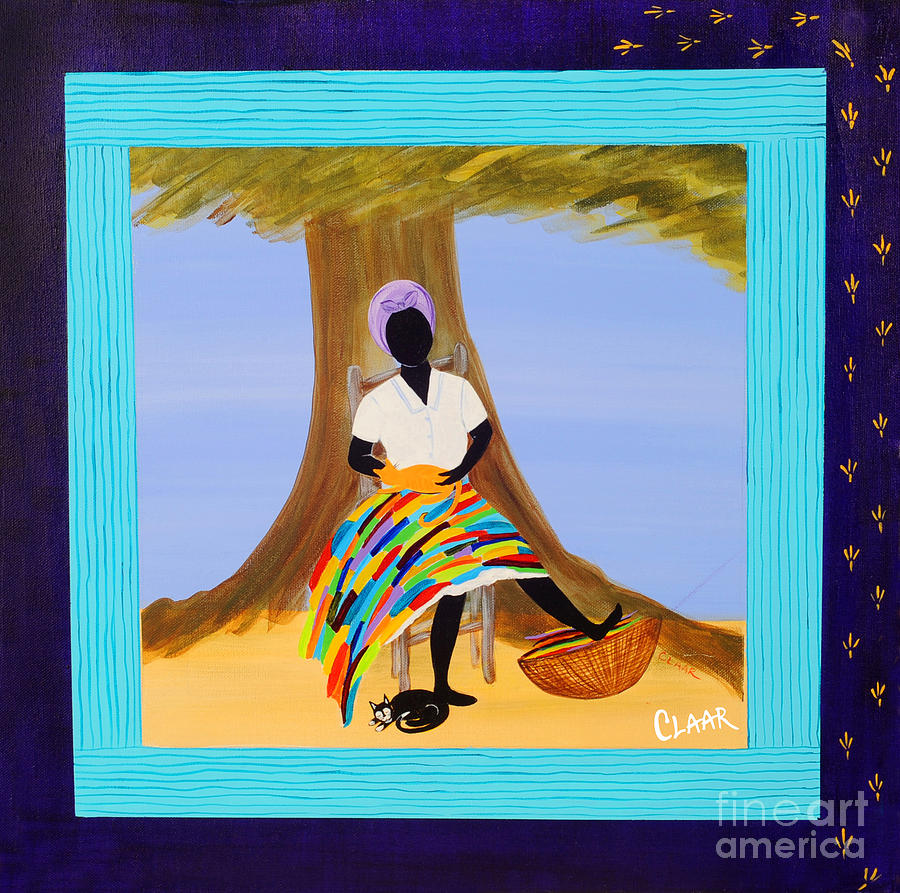 Gullah Painting - Nap With Cats by Samantha Claar