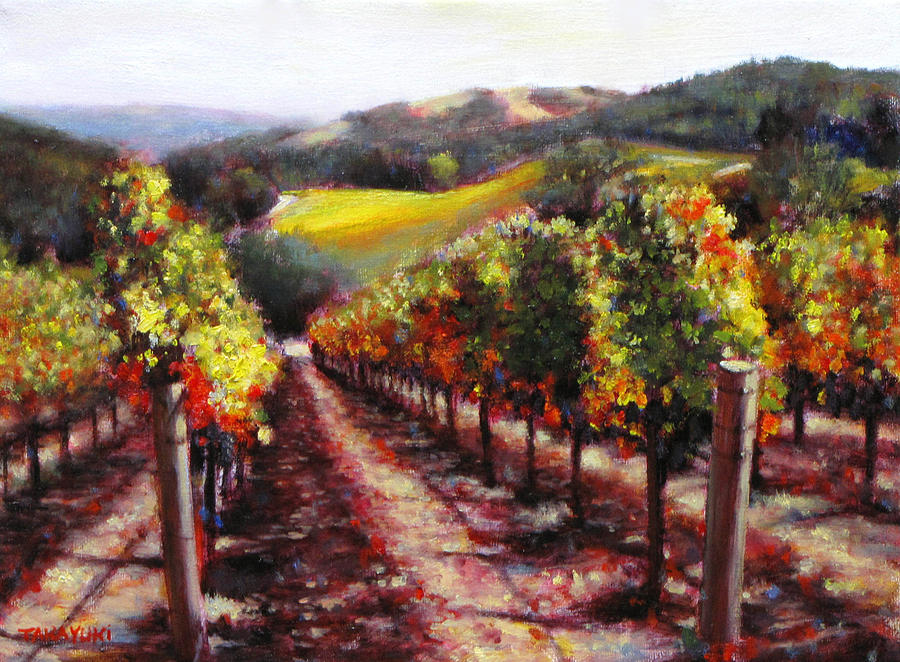 Wine Vineyard Painting - Napa Hill Side Vineyard by Takayuki Harada
