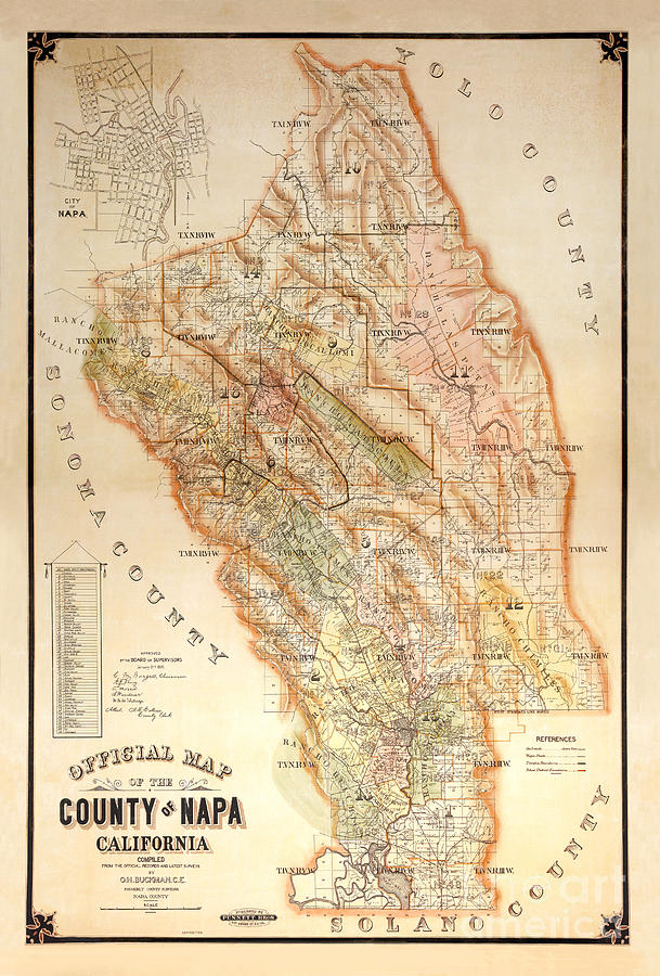 Napa Valley Map 1895 Photograph by Jon Neidert