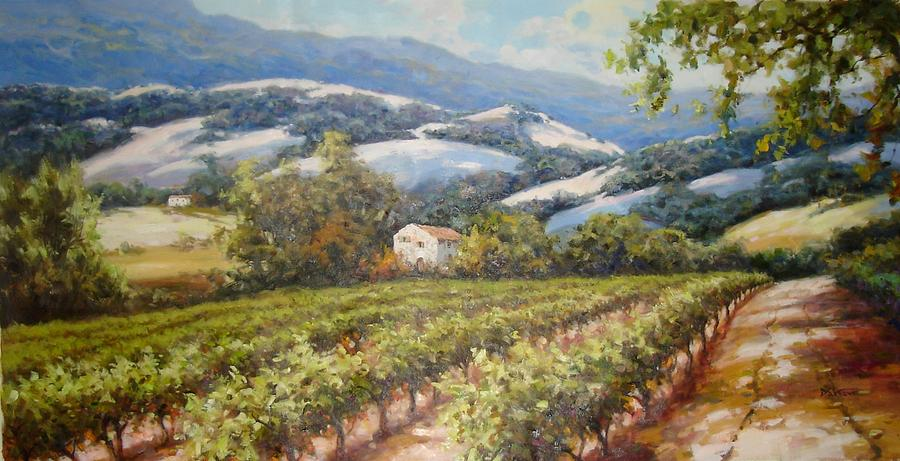 Napa Valley Oaks And Vines Painting By David Kim
