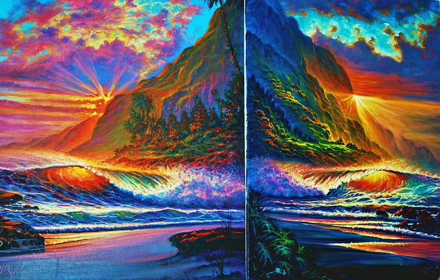 P Smplr B031-4 Painting - Napali Cliffs Sunset - Diptych by Joseph   Ruff