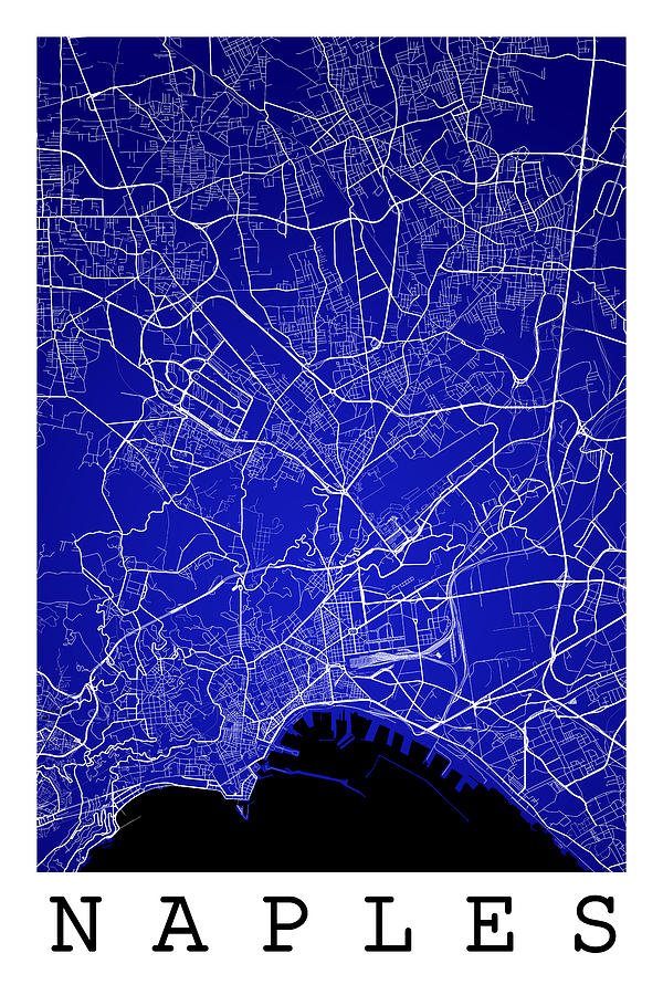 Naples Street Map - Naples Italy Road Map Art On Color Digital Art ...