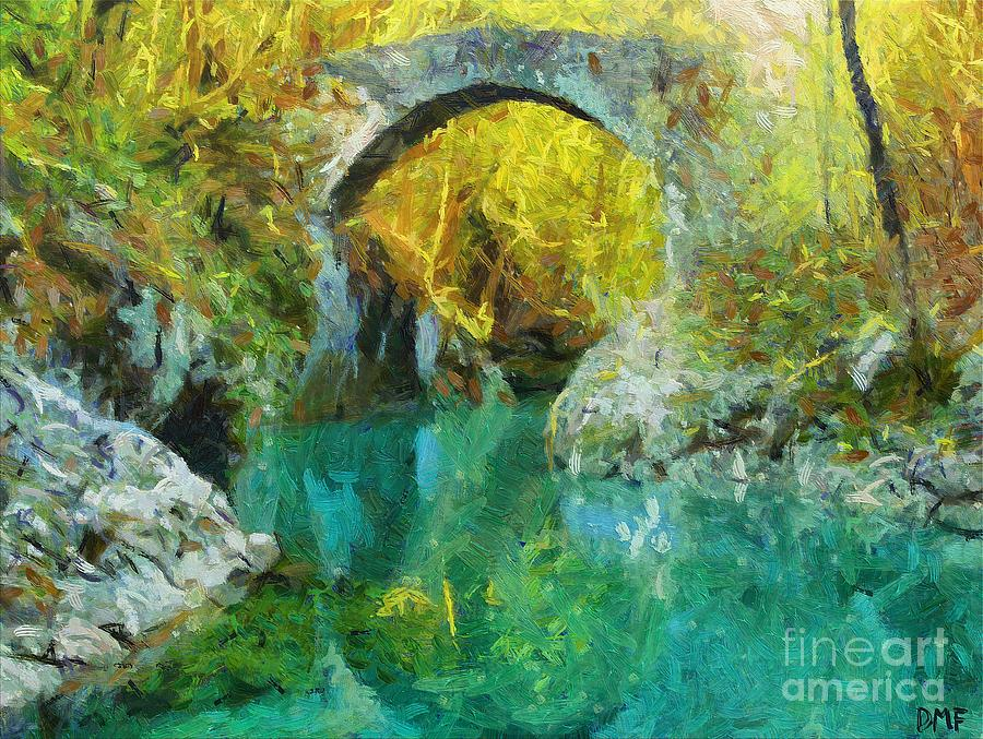 Landscapes Painting - Napoleon Bridge Across The River Nadiza by Dragica  Micki Fortuna