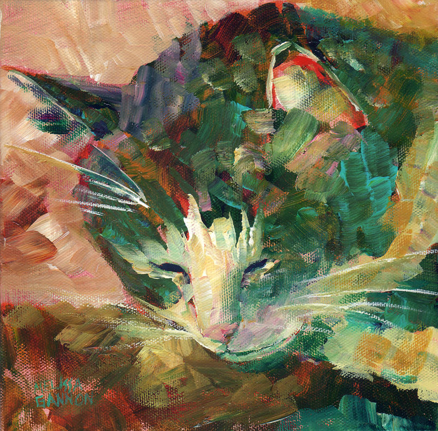 Kitty Painting - Napping and Dreaming by Melissa Gannon