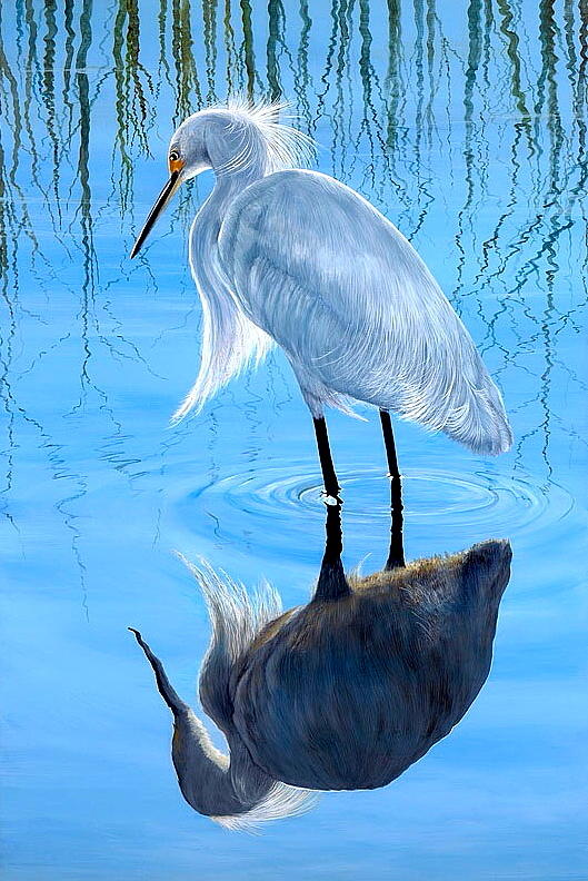 Snowy Egret Painting - Narcissus by AnnaJo Vahle