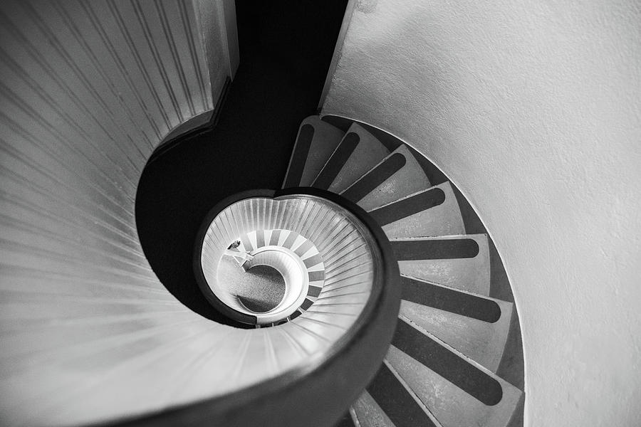 Narrow Circular Staircase Abstract Photograph by Art Wager