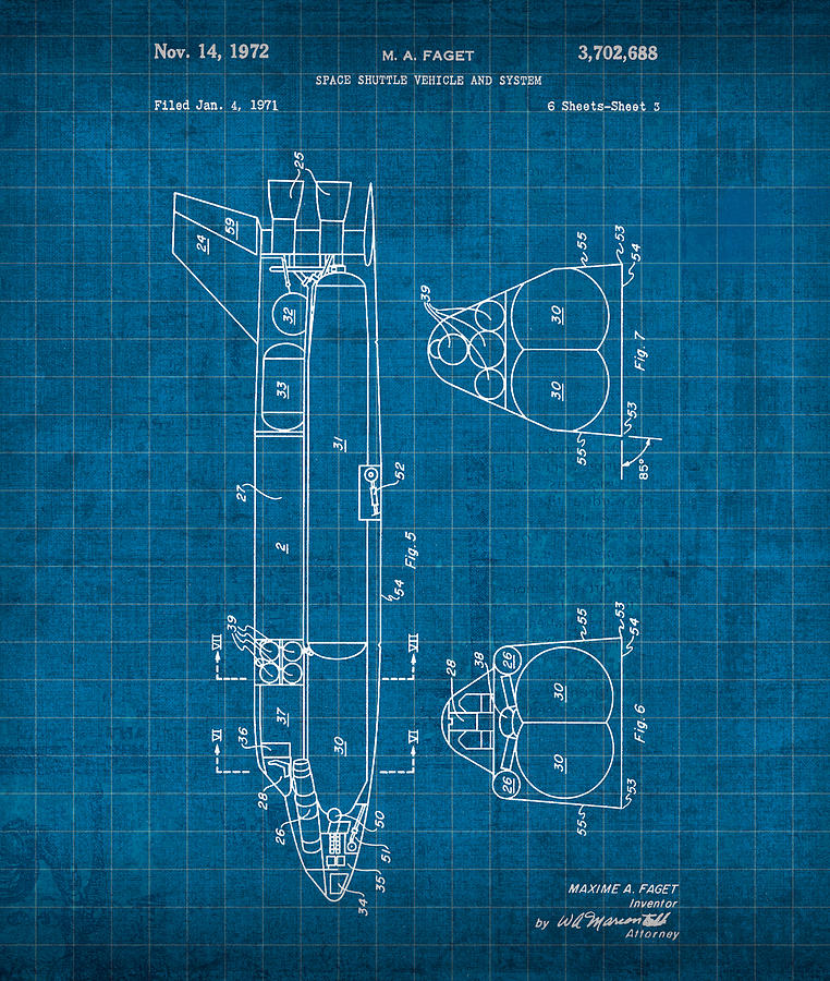 Nasa Space Shuttle Vintage Patent Diagram Blueprint Mixed