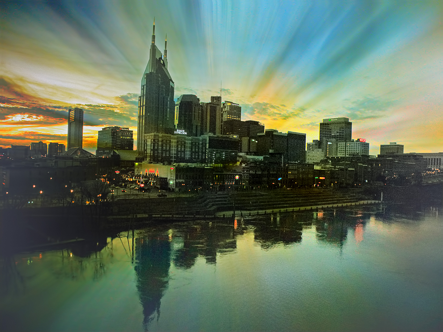 Cityscapes Photograph - Nashville Over The Cumberland by Steven Michael