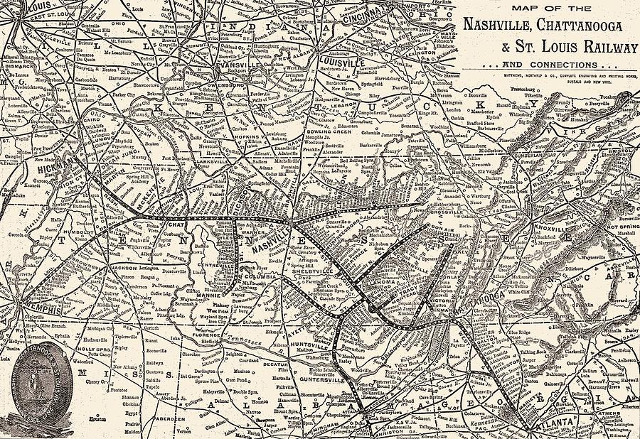 Vintage Map Mixed Media - Nashville Railway Map Vintage by Dan Sproul