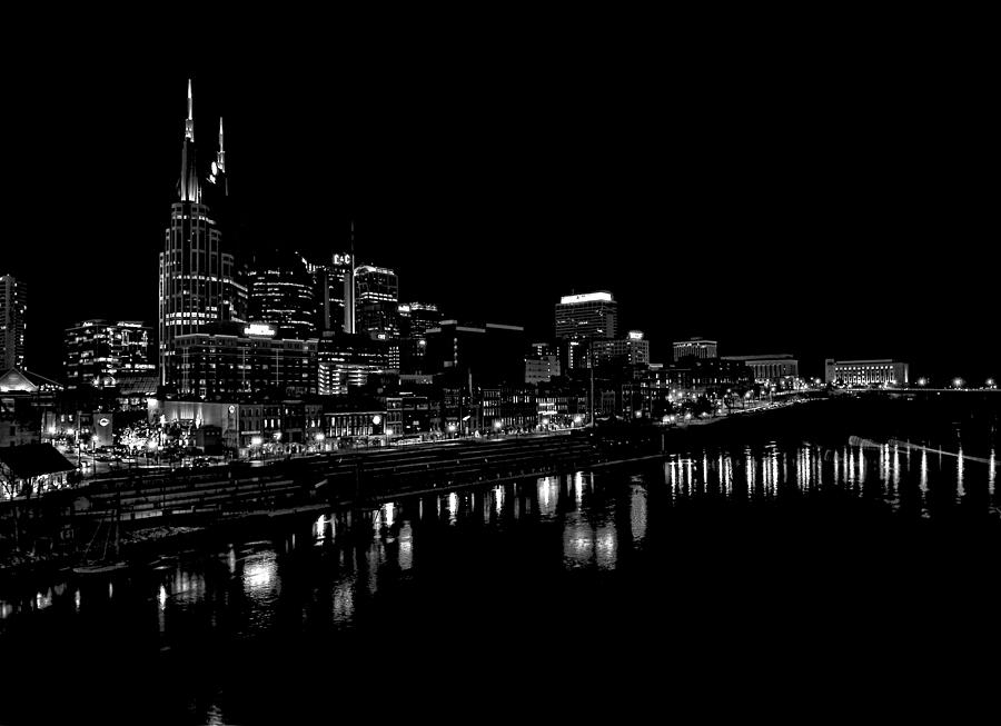 Nashville Skyline At Night In Black And White Photograph - Nashville Skyline At Night In Black And White by Dan Sproul