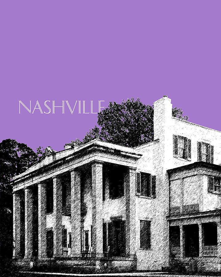 Architecture Digital Art - Nashville Skyline Belle Meade Plantation - Violet by DB Artist