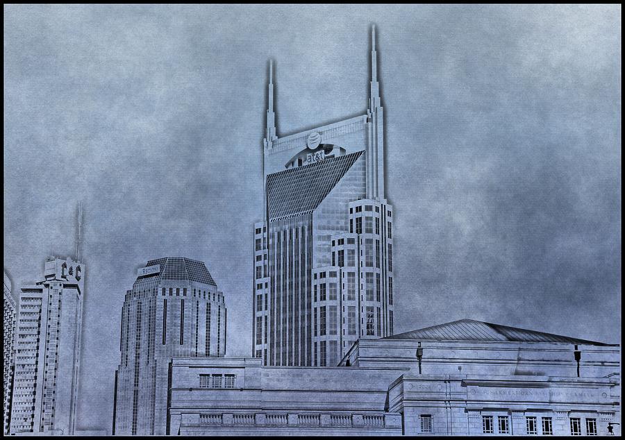 Nashville Skyline Photograph - Nashville Skyline Sketch by Dan Sproul