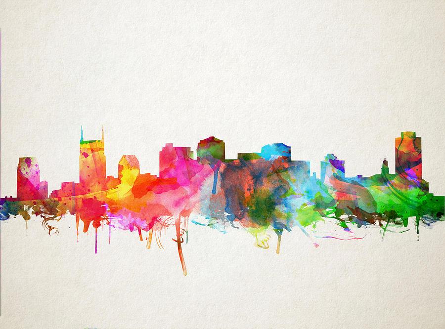 Nashville Skyline Watercolor 9 Painting By Bekim Art