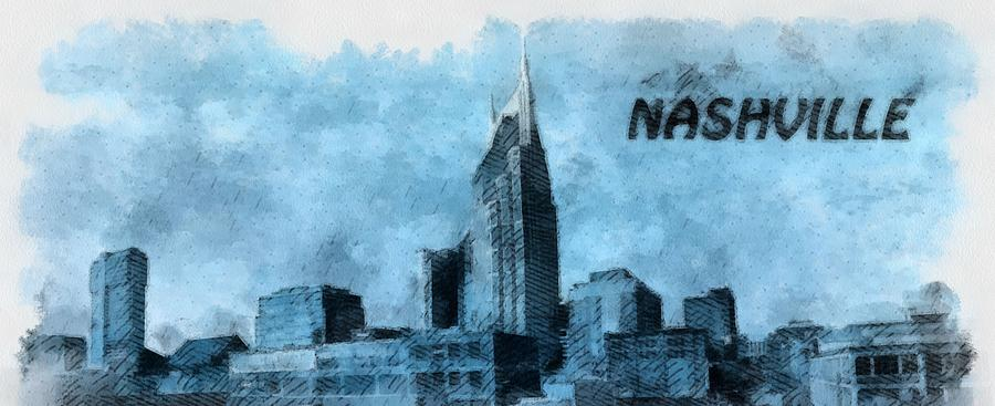 Nashville Tennessee Painting - Nashville Tennessee In Blue by Dan Sproul