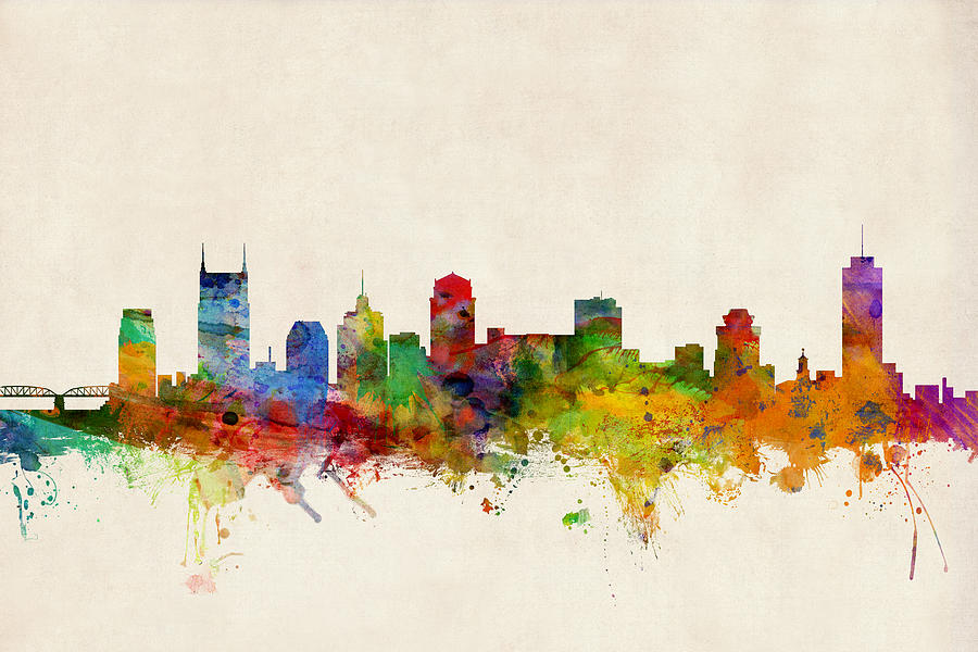 Nashville Wall Art nashville tennessee skyline digital artmichael tompsett
