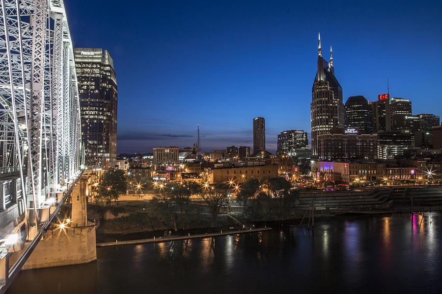 Nashville Photograph - Nashville Tennessee With Pedestrian Bridge  by John McGraw