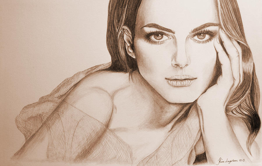 Girl Drawing - Natalie Portman by Kim Lagerhem