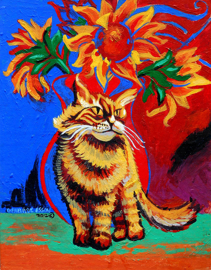 Cat Painting - Natasha by Genevieve Esson