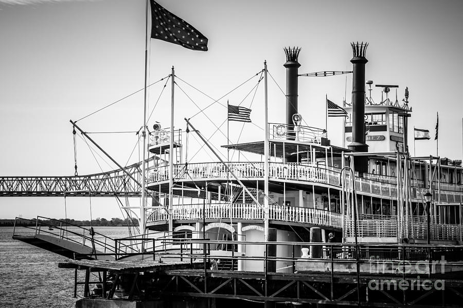 America Photograph - Natchez Steamboat In New Orleans Black And White Picture by Paul Velgos