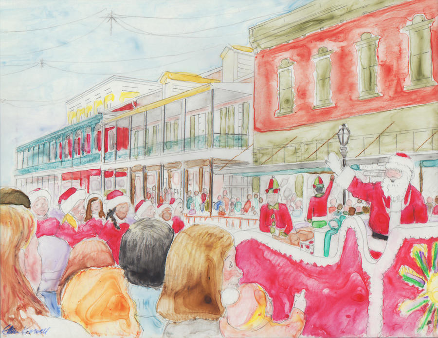 Louisiana Painting - Natchitoches Christmas Parade by Ellen Howell