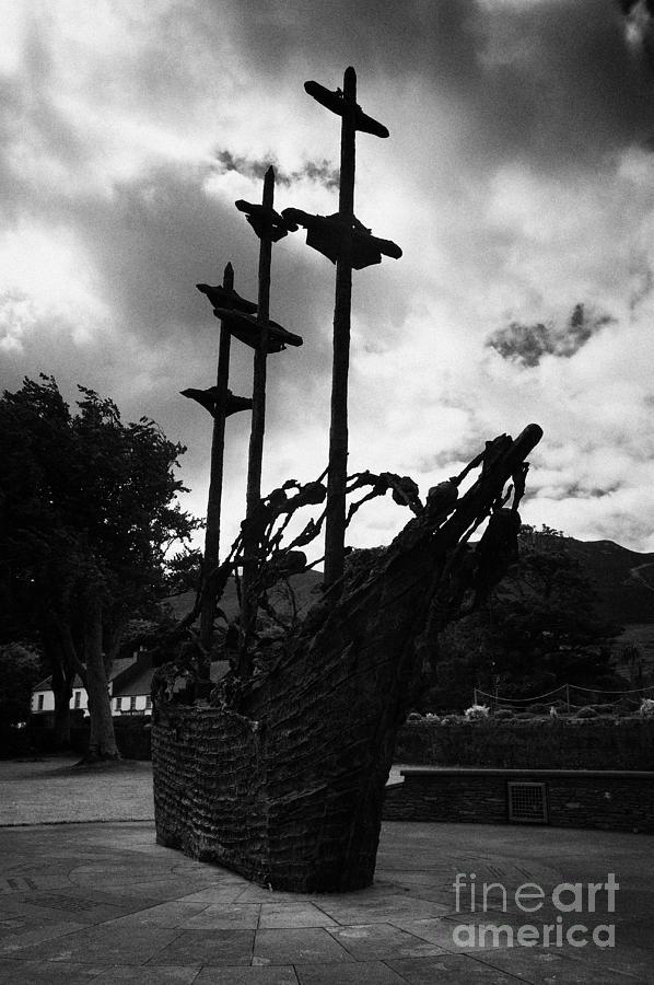 Ireland Photograph - National Famine Memorial The Skeleton Ship By John Behan Beneath Croagh Patrick Mayo Ireland by Joe Fox