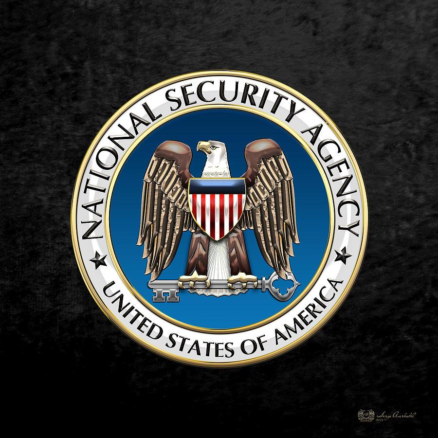 Oga Digital Art - National Security Agency - N S A Emblem On Black Velvet by Serge Averbukh
