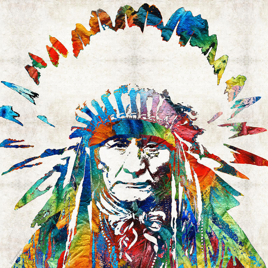 Native american art chief by sharon cummings painting for Art print for sale