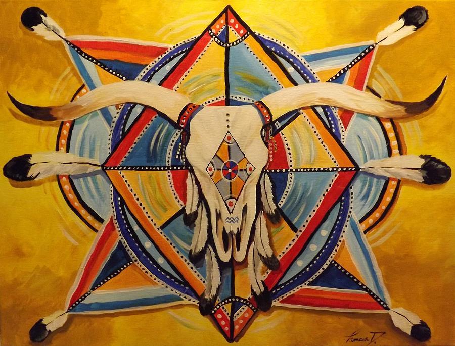 Native american art longhorn mandela 18x24 acrylic on canvas indian painting native american art longhorn mandela 18x24 acrylic on canvas southwest decor western art publicscrutiny Choice Image