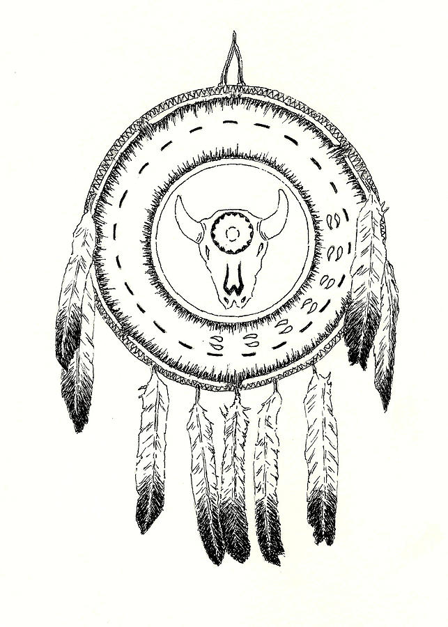 Native American Ceremonial Shield Number 2 Black and White by Michael Vigliotti