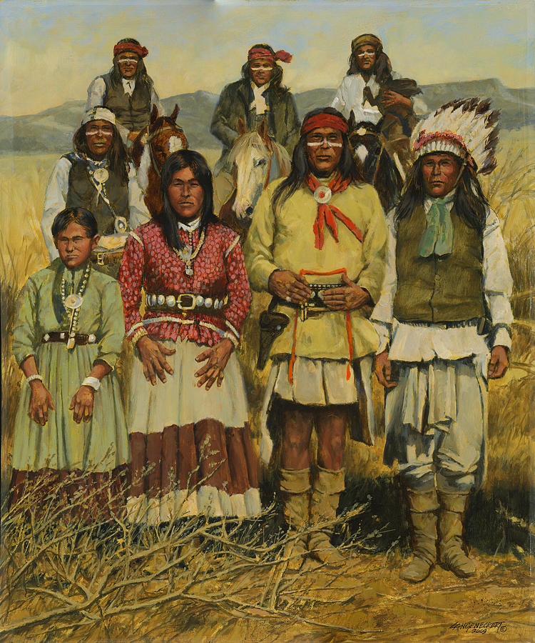 Apache Family Painting By Don Langeneckert