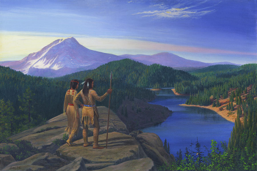 Native American Indians Painting - Native American Indian Maiden And Warrior Watching Bear Western Mountain Landscape by Walt Curlee