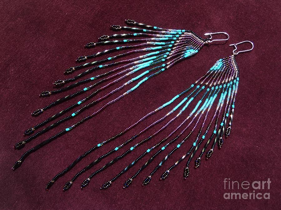 Native American Inspired Seed Bead Long Earrings Jewelry By Melanie Maria Scott