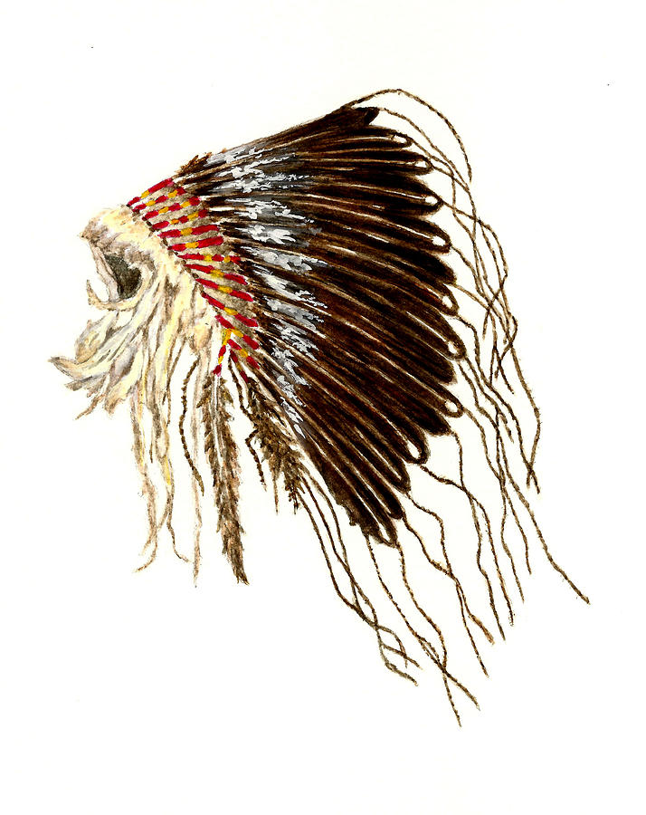 Native American War Bonnet Plains Indians Painting By