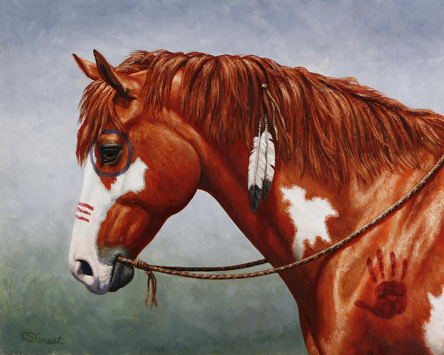 Horse Painting - Native American War Horse by Crista Forest
