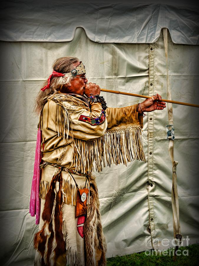 Native American With Blowgun Photograph By Paul Ward