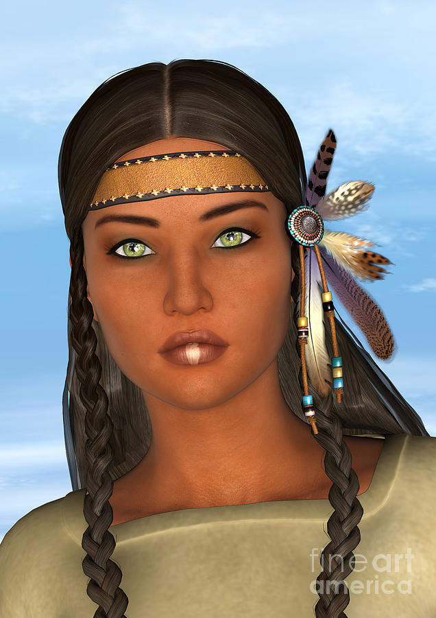 Native Digital Art - Native American Woman by Design Windmill
