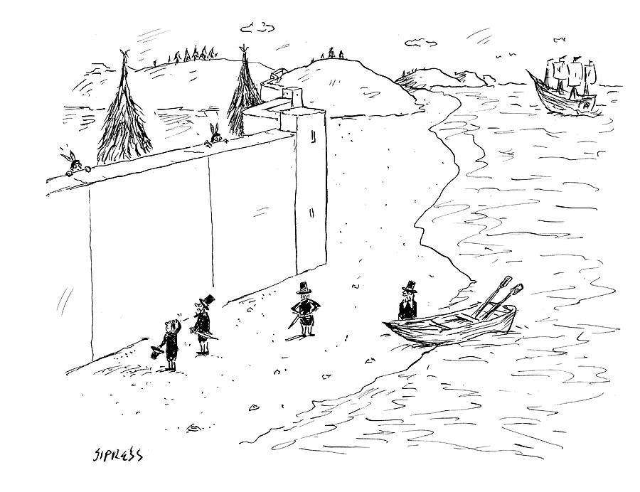 Native Americans Behind Wall Drawing by David Sipress
