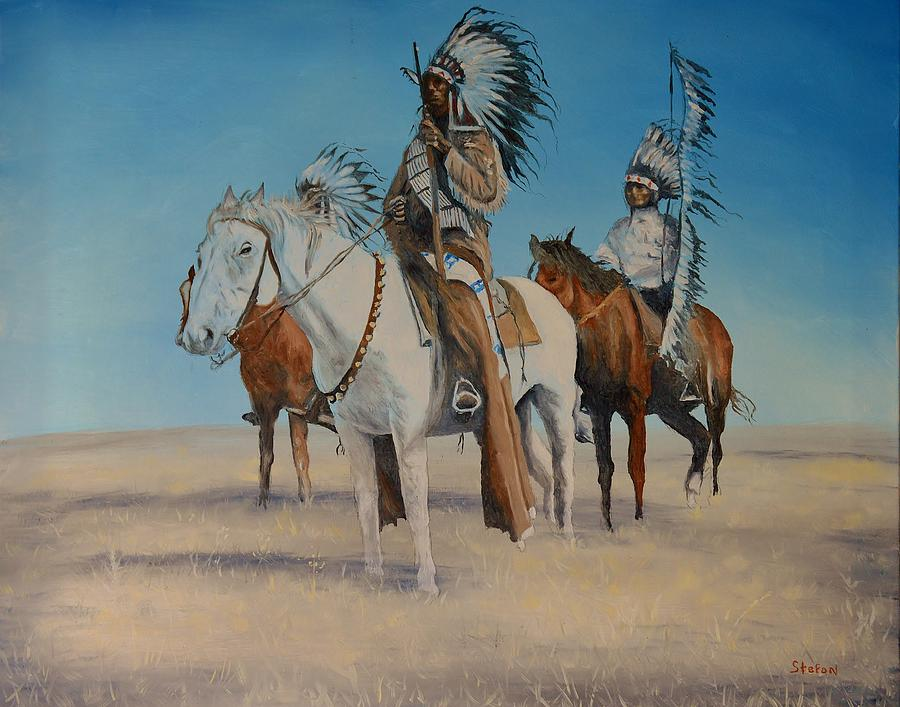 Indians Painting - Native Americans On Horseback by Stefon Marc Brown