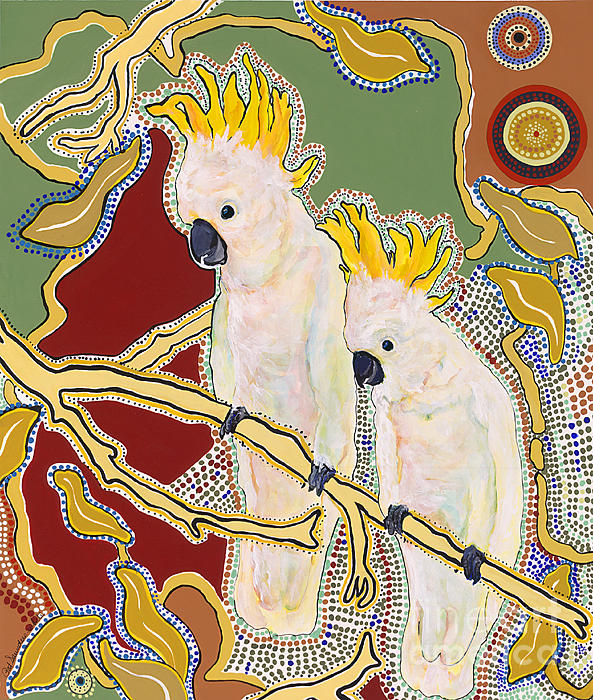 Pat Saunders-white Painting - Native Aussies by Pat Saunders-White