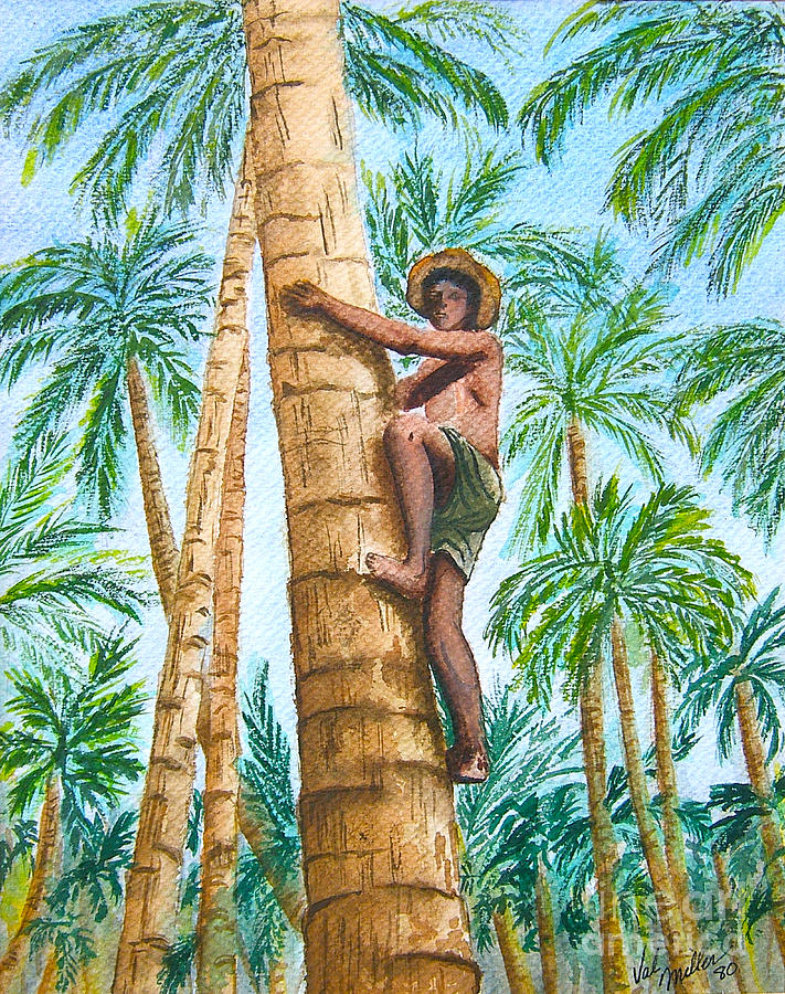 Native Climbing Palm Tree Painting By Val Miller