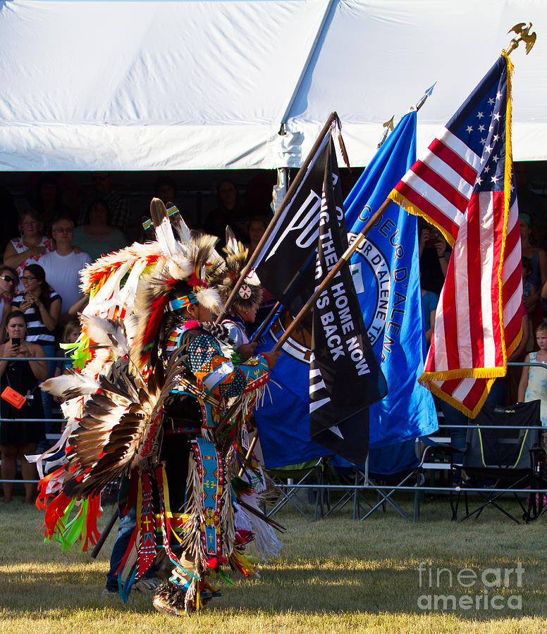 Pow Wow Photograph - Native Flag Ceremony by Scarlett Images Photography