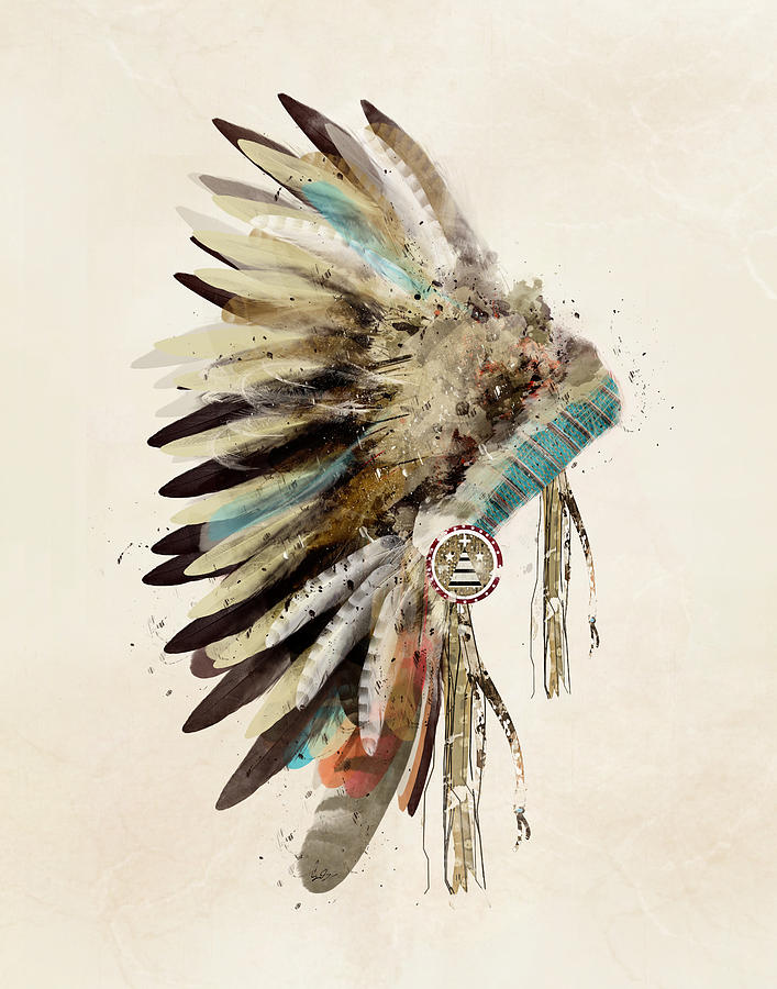 Native Headdress Painting By Bri Buckley