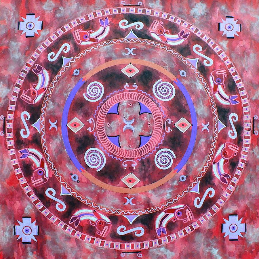 Mandala Painting - Native Mandala by Vlatka Kelc