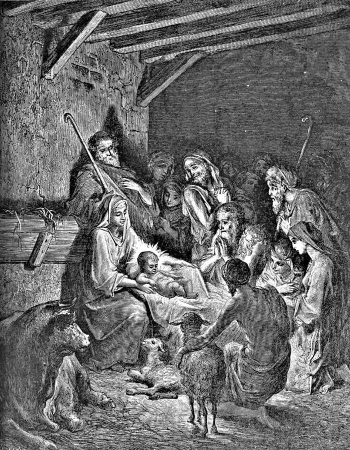 Nativity Drawing - Nativity Bible Illustration Engraving by