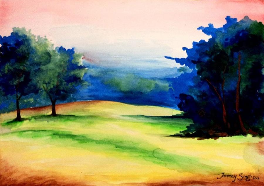Landscape Painting - Natural Beauty by Tanmay Singh