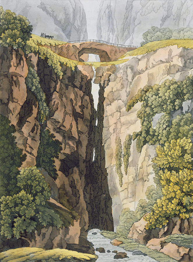 Landscape Drawing - Natural Bridge, Valle Dicononzo by Gerolamo Fumagalli